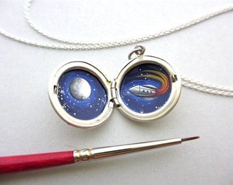 Tiny Painting Locket, Rocket to the Moon, Sterling Silver and Oil Enamel