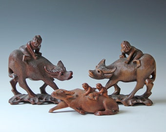 3 Antique hand carved Chinese water buffalo/ oxen wood scupture