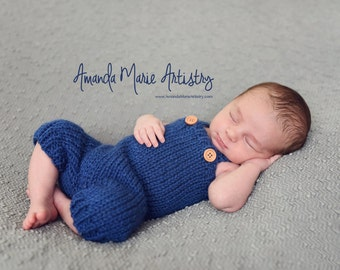 Newborn Photo Prop, Baby Overalls, Knit Romper Hat,  Baby Boy Pants,