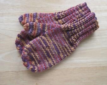 Child Medium Mittens Wool Blend Hand Knit Autumn Variegated