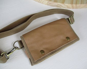 Field tan waxed canvas leather modern fanny pack hipster Smartphone convenience belt wallet Waist school pouch mini messenger iphoneography