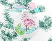 Pink Flamingo, Frosted Glass Bulb, Handpainted Flamingo Ornament,OOAK Xmas Tree Ornament,Coastal Beach Christmas Decor,Crab Zentangle