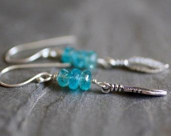 Feather Earrings. Bohemian Apatite and Sterling Silver Aqua Blue Dangle Earrings. Island Jewelry Handmade on Maui