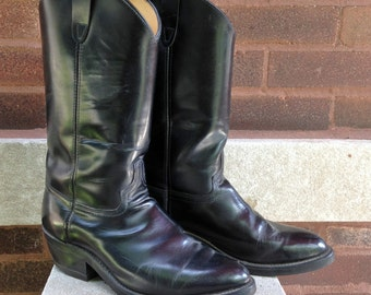 Black leather Cowboy Boots size 7 Womens Boots Vintage Made in the USA biltrite boots