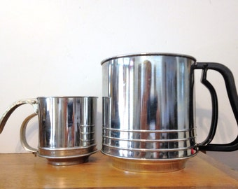 Foley Flour Sifter TWO Vintage Metal Flour Shifters