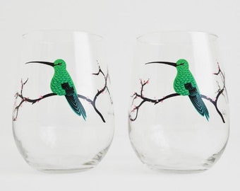Hummingbirds in the Spring Glasses - Set of 2 Hand Painted Stemless Glasses, Mothers Day Gift, Mother's Day, Cherry Blossoms, Cherry Tree