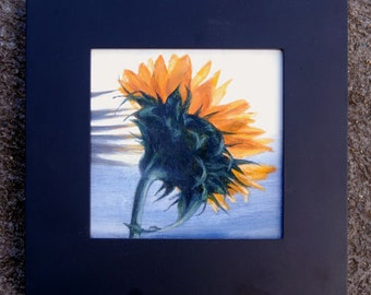 Original Framed Oil Painting 5x5 inch -- SUNFLOWER SHADOWS -- Still Life by Diana Moses Botkin