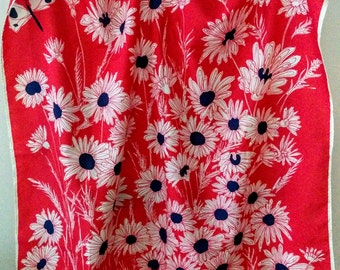 Vintage Vera Neumann Scarf Daisies and Butterfly Red White and Blue Scarf