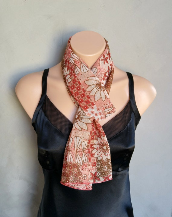 Bohemian Red Floral Sheer Chiffon Skinny Scarf  Red Skinny Scarf Floral Skinny Scarf Sheer Floral Scarf Red Floral Scarf Bohemian Red Scarf