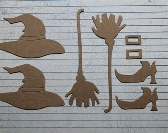 6 Bare chipboard Halloween witch hat, shoe and broom die cuts
