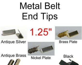 """50 PIECES - 1 1/4"""" - Plate Belt TIPS - 1 1/4 inch x 3/8 inch - For 1.25 inch webbing - You Choose Finish"""