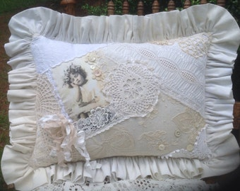 Sweet Cottage Lace Pillow Vintage Girl Sleeping Old laces and Buttons