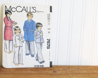 Pajama Robe Sewing Pattern McCall's 7678 Childrens Childs Vintage 1980s