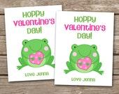 PRINTABLE - Kids Valentine Day Cards - Frog Valentine - Hoppy Valentines Day - 3.5 x 4.5 - Personalized