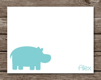 Hippo Note Cards, Hippo Cards, Hippo Thank You, Silhouette Hippo Note Cards, Hippo Stationery, Baby Hippo, Personalized Note Cards
