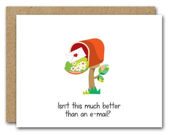 Snail Mail Card, INSTANT DOWNLOAD, Friend Card, Friendship Card, Hello Card, All Occasion Card, Thank You Card, Blank Greeting Card