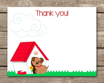 Puppy Thank You Cards - Dog - Birthday Party - INSTANT DOWNLOAD