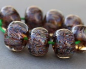 Boro Beads - Lampwork Beads - Coffee Brown, Copper and Metallic Beads