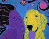 golden retriver art - LARGE MATTED Print by dog pop art