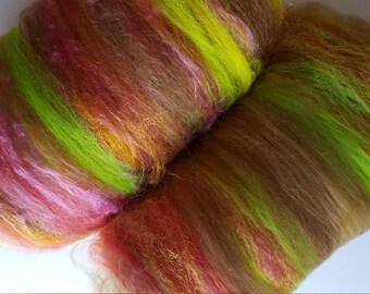 Art batt SALE 4 oz. wool silk firestar hand dyed batt JAPANESE MAPLE