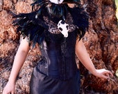 Feather, leather and lace gothic neck corset