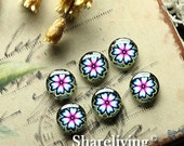 20% OFF SALE - Glass Cabochon, 8mm 10mm 12mm 14mm 16mm 20mm 25mm 30mm Round Handmade photo glass Cabochons (Flower)  -- BCH184F