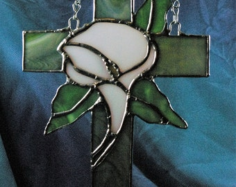 Stained Glass Cross and Cala Lilly Suncatcher Hand made