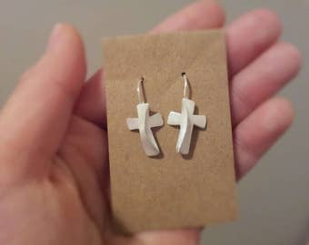 Sterling Silver Handmade Cross Earrings