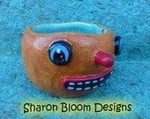 Halloween CeramicPumpkin Bowl Sculpture handmade by Sharon Bloom Designs