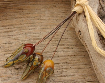 POD PAIRS - Ornate Pod Shaped Handmade Lampwork Head Pins - 4 Headpins