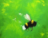 Bee painting 359 12x12 inch insect animal portrait original oil painting by Roz