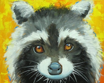 Raccoon 2 painting 12x12 inch original oil painting by Roz