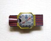 Vintage Tin Whistle Wrist Watch Cracker Jack Prize Tin Litho Metal Toy Trinket Pre War Japan Collectible