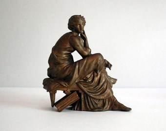 Greek Goddess Statue, Antique Sitting Woman Figurine, Painted Spelter, 1920s Bookend, Neoclassical Art, Book Library Decor, Greco Roman Art