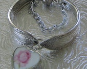 Broken China Bracelet - Vintage Spoon Bracelet - Wm Rogers Cotillion Spoon - Repurposed Bracelet - Charm Bracelet