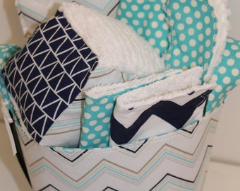 Chevron Baby Gift Basket---Ready To Ship--- Baby Shower Gift--- New Mom Gift