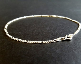 Sterling Silver Italian Chain Bracelet {Anniversary Valentine's Day Present for Her 925 Made in Italy Modern Design Christmas Gift}