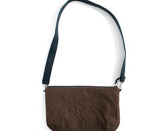 Brown linen crossbody bag