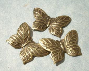 3 Small Butterfly Stampings, Brass Stamping, Top Drill for Necklace Pendant