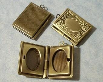 3 Bronze Picture Frame Lockets, Etched Photo Frame Locket, Memory Locket Pendant