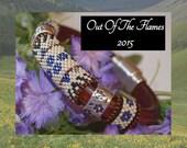 Bead PATTERN Floral Licorice Leather Bracelet  Peyote Or Brick stitch