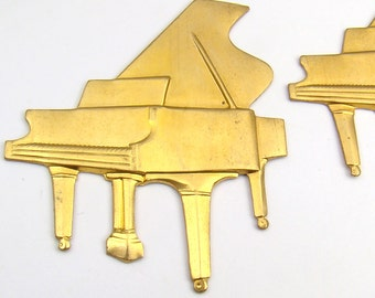 2 pcs brass grand piano stampings, vintage large bright metal 46mm