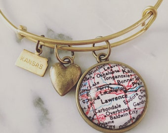 Lawrence Map Charm Bangle Bracelet - Personalized Map Jewelry - Stacked Bangle - University of Kansas - Jayhawks - Graduation Gift - Alumni