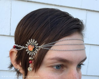 Sun Dancer Tribal Circlet - Red, Dichroic Glass, Silver, Gold - With Clasp - Belly Dance, Wedding, Renaissance or Costume Accessory