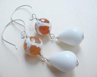 White earrings,  Dangle earrings, Clear earrings, Drop earrings, White drops earrings, Long earrings, Simple earrings,  Teardrop earrings