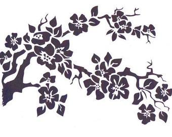 Cherry Blossom Stencil, Mylar Stencil, Flower Stencil, art supply stencil, pochoir, Japanese flower, Asian stencil, art stencil, cherries