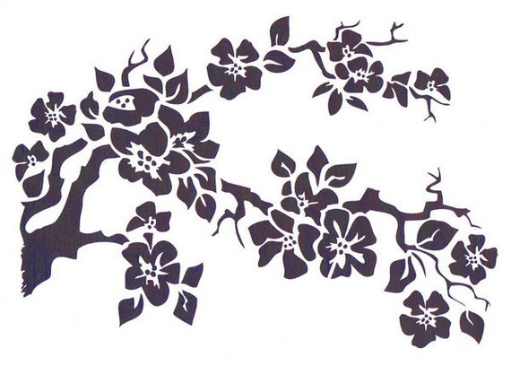 Cherry Blossom Flower Stencil: Cherry Blossom Stencil Mylar Stencil Flower Stencil Art