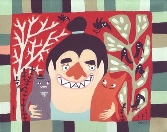Cat Art Painting - Mama and Her Cat Family and Crows - Whimsical Funny Original Outsider Folk Artwork on Canvas - Wall Decor Artwork