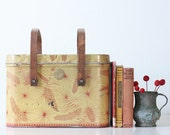 Vintage Pinecone Picnic Basket, Retro Tin Box