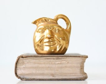 Vintage Man in the Moon Creamer, Gold Miniature Pitcher